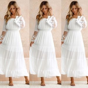Dresses & Skirts - Summer Boho Off-shoulder Beach Lace Flowy Dress